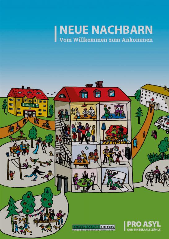 """Cover Brposchüre """"Neue Nachbarn - Vom Willkommen zum Ankommen"""" von PRO ASYL und der Amadeu-Antonio-Stiftung"""