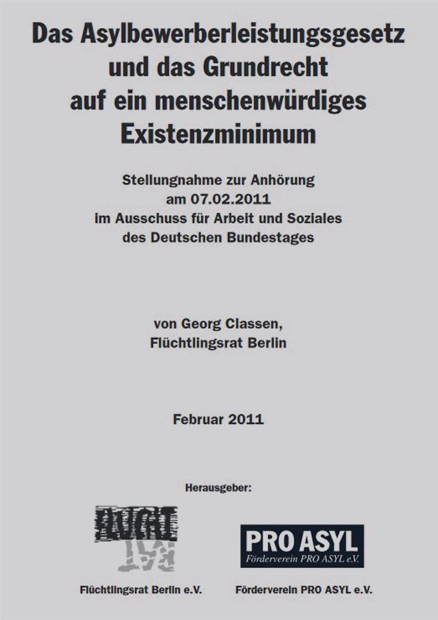 PRO_ASYL_Stellungnahme_Asylbewerberleistungsgesetz_Februar_2011_Cover