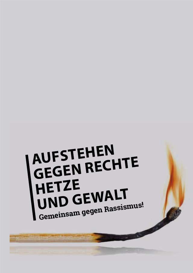 Cover Faltblatt Mitmachen und aktiv werden - das Faltblatt »Aufstehen gegen Rechte Hetze und Gewalt« Gemeinsam gegen Rassismus