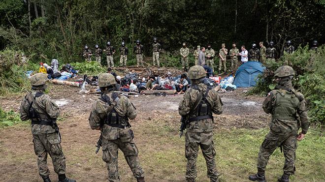 Flüchtlinge an der Polnisch-belarussischen Grenze